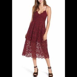 Astr Wine Lace Midi Dress